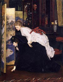 Young Women Looking at Japanese Objects, c.1869/70 by Joseph Tissot | Painting Reproduction