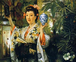 Young Lady Holding Japanese Objects, 1865 by Joseph Tissot | Painting Reproduction