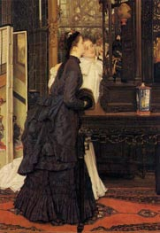 Young Ladies Looking at Japanese Objects, 1869 by Joseph Tissot | Painting Reproduction