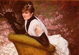 Portrait De Femme A L'Eventail, undated by Joseph Tissot | Painting Reproduction
