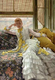 July: Specimen of a Portrait (Sea-Side), c.1878 by Joseph Tissot | Painting Reproduction