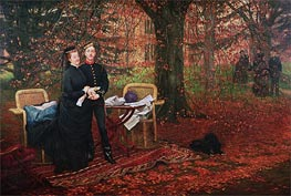 Empress Eugenie and Eugene-Louis Napoleon Bonaparte at Camden Place, Chislehurst, 1872 by Joseph Tissot | Painting Reproduction