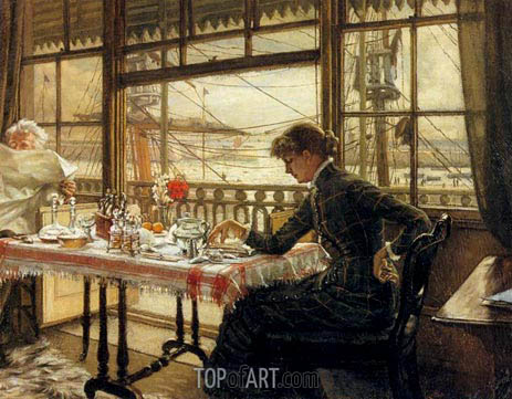 Room Overlooking the Harbor, c.1876/78 | Joseph Tissot | Painting Reproduction