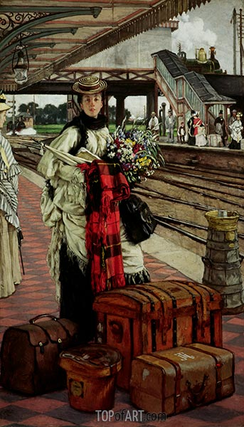 Waiting at the Station, 1874 | Joseph Tissot | Painting Reproduction