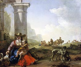 Italian Peasants and Ruins, 1650 by Jan Baptist Weenix | Painting Reproduction