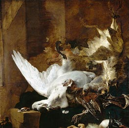 Still Life with a Dead Swan, c.1651 by Jan Baptist Weenix | Painting Reproduction