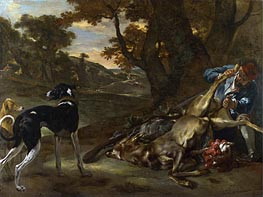 A Huntsman Cutting up a Dead Deer, with Two Deerhounds | Jan Baptist Weenix | Painting Reproduction