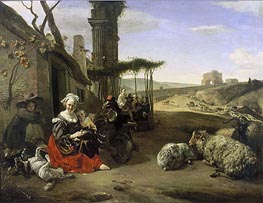 Italian Landscape with Inn and Ancient Ruins | Jan Baptist Weenix | Painting Reproduction