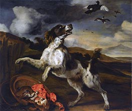 A Landscape with an English Springer Spaniel , Undated by Jan Baptist Weenix | Painting Reproduction