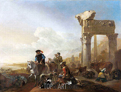 Hunters Near Ruins, 1648 | Jan Baptist Weenix | Painting Reproduction