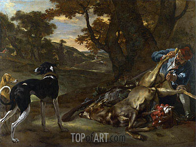 A Huntsman Cutting up a Dead Deer, with Two Deerhounds, c.1647/60 | Jan Baptist Weenix | Painting Reproduction