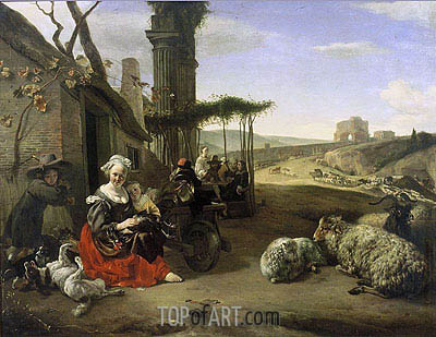 Italian Landscape with Inn and Ancient Ruins, 1658 | Jan Baptist Weenix | Painting Reproduction