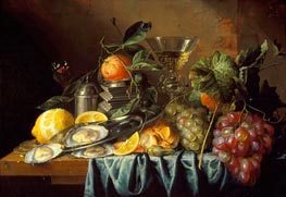 Still Life with Oysters and Grapes, 1653 by de Heem | Painting Reproduction