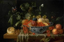 Still Life with Fruit and Butterflies, c.1645/55 by de Heem | Painting Reproduction