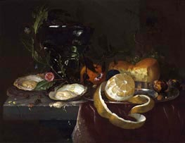 Still Life with Oysters and a Peeled Lemon, undated by de Heem | Painting Reproduction