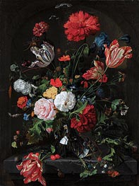 Flowers in a Glass Vase, c.1660 von de Heem | Gemälde-Reproduktion