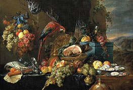 Sumptuous Still Life with Parrot | de Heem | Painting Reproduction