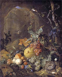 Still Life with Bird's Nest, Undated von de Heem | Gemälde-Reproduktion