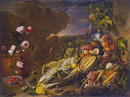 Fruit and a Vase of Flowers, 1655 von de Heem | Gemälde-Reproduktion