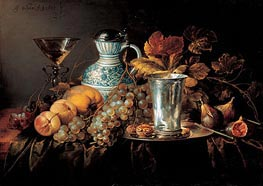 Fruit Still Life with a Silver Beaker , 1648 by de Heem | Painting Reproduction