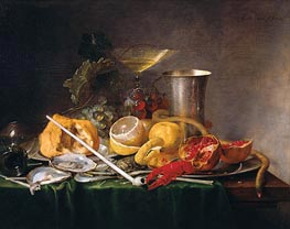 Still Life, Breakfast with Glass of Champagne and Pipe, 1642 by de Heem | Painting Reproduction