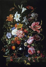 Vase with Flowers, c.1670 by de Heem | Painting Reproduction