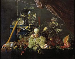 Fruit Still Life with Jewelry Box, c.1650/55 by de Heem | Painting Reproduction