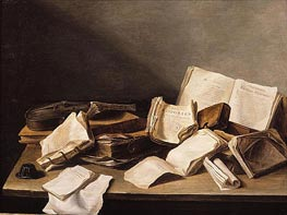Still Life with Books, 1628 von de Heem | Gemälde-Reproduktion