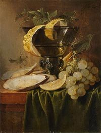 Still Life with a Glass and Oysters, c.1640 by de Heem | Painting Reproduction