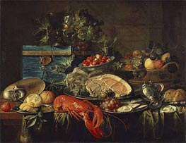Still life with Lobster, 1643 by de Heem | Painting Reproduction