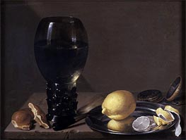 Still life with Wine Glass, 1628 by de Heem | Painting Reproduction