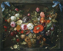 A Festoon of Fruit and Flowers in a Marble Niche, 1675 by de Heem | Painting Reproduction