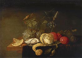 Still Life with a Peeled Lemon, 1651 by de Heem | Painting Reproduction