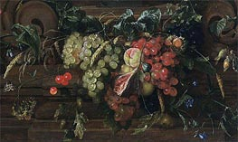 Still Life with White and Blue Grapes, 1653 by de Heem | Painting Reproduction