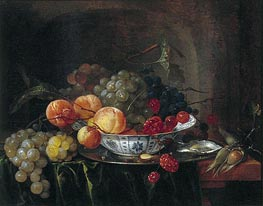 Still Life with Chinese Bowl, Fruit and Oysters | de Heem | Painting Reproduction
