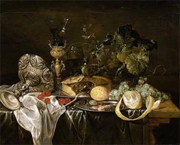Still Life with Fruit, Pie and Drinking Utensils, Undated by de Heem | Painting Reproduction