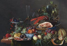 Still Life with Ham, Lobster and Fruit, c.1653 by de Heem | Painting Reproduction