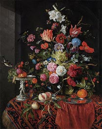 Flowers in a Glass Vase with Birds, undated by de Heem | Painting Reproduction