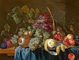 Still Life with Grape and Lemon, 1654 by de Heem | Painting Reproduction