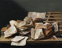 Still Life with Books, 1628 by de Heem | Painting Reproduction