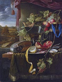 Still Life with Shell, Peeled Lemon and Pomegranate, undated by de Heem | Painting Reproduction