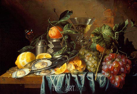Still Life with Oysters and Grapes, 1653 | de Heem | Gemälde Reproduktion