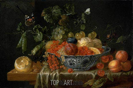 Still Life with Fruit and Butterflies, c.1645/55 | de Heem | Painting Reproduction