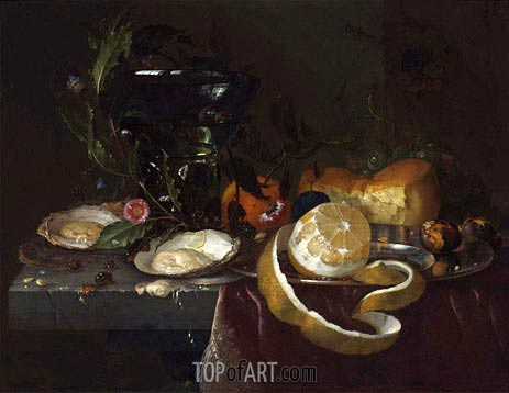 Still Life with Oysters and a Peeled Lemon, undated | de Heem | Painting Reproduction
