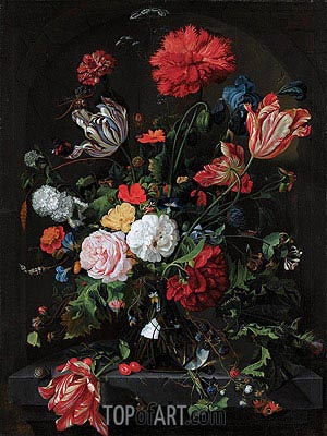 Flowers in a Glass Vase, c.1660 | de Heem | Painting Reproduction