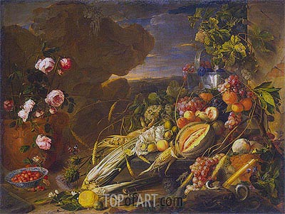 Fruit and a Vase of Flowers, 1655 | de Heem | Painting Reproduction