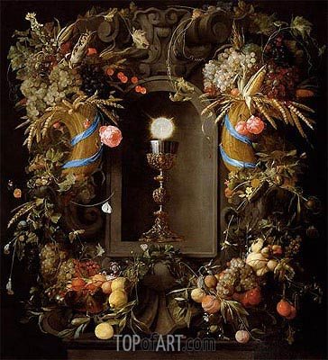 Communion Cup and Host, Encircled with a Garland of Fruit, 1655 | de Heem | Painting Reproduction