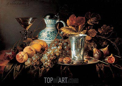 Fruit Still Life with a Silver Beaker , 1648 | de Heem | Painting Reproduction