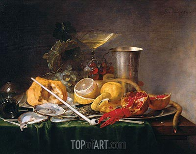 Still Life, Breakfast with Glass of Champagne and Pipe, 1642 | de Heem | Painting Reproduction