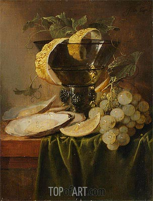 Still Life with a Glass and Oysters, c.1640 | de Heem | Painting Reproduction